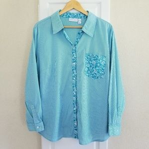 Susan Graver Teal Striped Button Down Shirt 20W